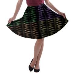 Multicolor Pattern Digital Computer Graphic A-line Skater Skirt