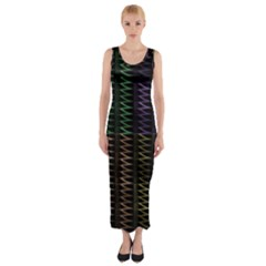 Multicolor Pattern Digital Computer Graphic Fitted Maxi Dress