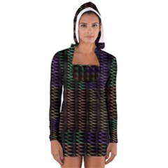 Multicolor Pattern Digital Computer Graphic Women s Long Sleeve Hooded T Shirt