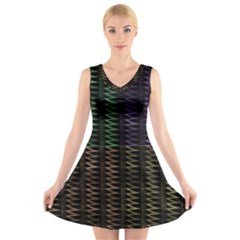 Multicolor Pattern Digital Computer Graphic V Neck Sleeveless Skater Dress