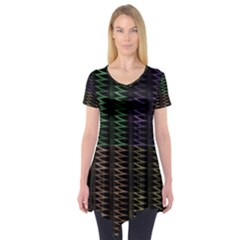 Multicolor Pattern Digital Computer Graphic Short Sleeve Tunic