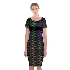 Multicolor Pattern Digital Computer Graphic Classic Short Sleeve Midi Dress