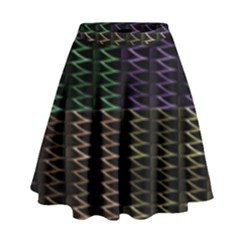 Multicolor Pattern Digital Computer Graphic High Waist Skirt