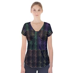 Multicolor Pattern Digital Computer Graphic Short Sleeve Front Detail Top