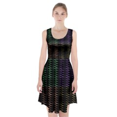 Multicolor Pattern Digital Computer Graphic Racerback Midi Dress