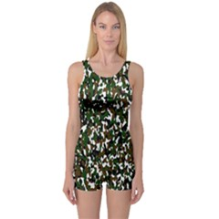 Camouflaged Seamless Pattern Abstract One Piece Boyleg Swimsuit