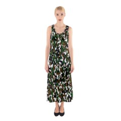 Camouflaged Seamless Pattern Abstract Sleeveless Maxi Dress