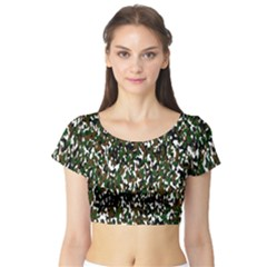 Camouflaged Seamless Pattern Abstract Short Sleeve Crop Top (tight Fit)