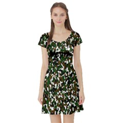 Camouflaged Seamless Pattern Abstract Short Sleeve Skater Dress