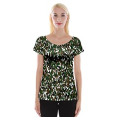 Camouflaged Seamless Pattern Abstract Women s Cap Sleeve Top
