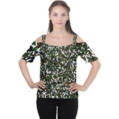 Camouflaged Seamless Pattern Abstract Women s Cutout Shoulder Tee
