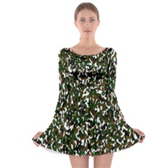 Camouflaged Seamless Pattern Abstract Long Sleeve Skater Dress