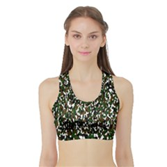Camouflaged Seamless Pattern Abstract Sports Bra with Border