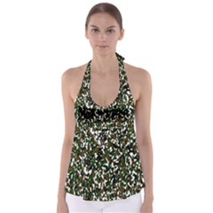 Camouflaged Seamless Pattern Abstract Babydoll Tankini Top
