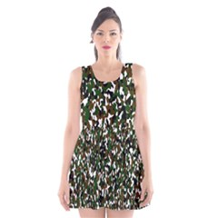 Camouflaged Seamless Pattern Abstract Scoop Neck Skater Dress