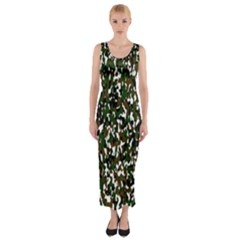 Camouflaged Seamless Pattern Abstract Fitted Maxi Dress