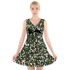 Camouflaged Seamless Pattern Abstract V Neck Sleeveless Skater Dress