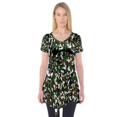 Camouflaged Seamless Pattern Abstract Short Sleeve Tunic