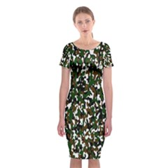Camouflaged Seamless Pattern Abstract Classic Short Sleeve Midi Dress