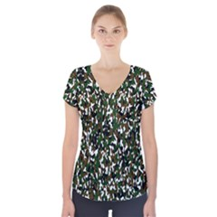 Camouflaged Seamless Pattern Abstract Short Sleeve Front Detail Top