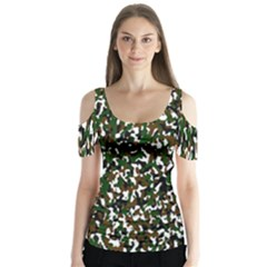 Camouflaged Seamless Pattern Abstract Butterfly Sleeve Cutout Tee
