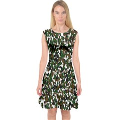 Camouflaged Seamless Pattern Abstract Capsleeve Midi Dress