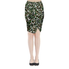 Camouflaged Seamless Pattern Abstract Midi Wrap Pencil Skirt