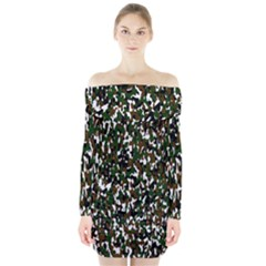Camouflaged Seamless Pattern Abstract Long Sleeve Off Shoulder Dress