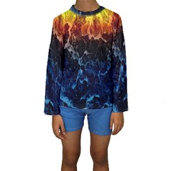 Abstract Background Kids  Long Sleeve Swimwear