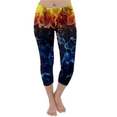 Abstract Background Capri Winter Leggings