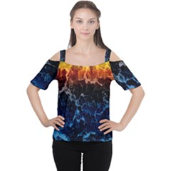 Abstract Background Women s Cutout Shoulder Tee