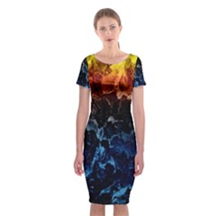 Abstract Background Classic Short Sleeve Midi Dress