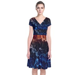 Abstract Background Short Sleeve Front Wrap Dress