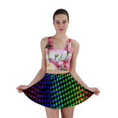 Digitally Created Halftone Dots Abstract Background Design Mini Skirt