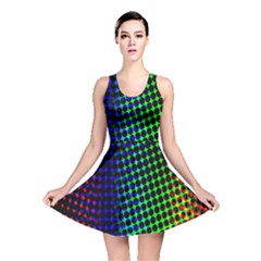 Digitally Created Halftone Dots Abstract Background Design Reversible Skater Dress
