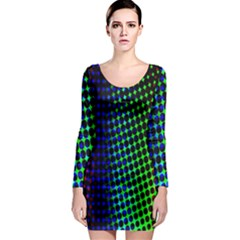 Digitally Created Halftone Dots Abstract Background Design Long Sleeve Bodycon Dress