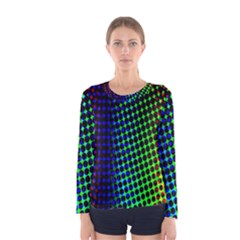Digitally Created Halftone Dots Abstract Background Design Women s Long Sleeve Tee