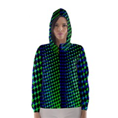 Digitally Created Halftone Dots Abstract Background Design Hooded Wind Breaker (women)