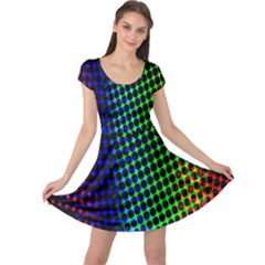 Digitally Created Halftone Dots Abstract Background Design Cap Sleeve Dresses