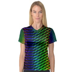 Digitally Created Halftone Dots Abstract Background Design Women s V Neck Sport Mesh Tee