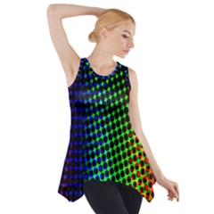 Digitally Created Halftone Dots Abstract Background Design Side Drop Tank Tunic