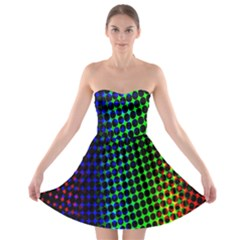 Digitally Created Halftone Dots Abstract Background Design Strapless Bra Top Dress