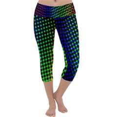 Digitally Created Halftone Dots Abstract Background Design Capri Yoga Leggings