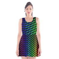 Digitally Created Halftone Dots Abstract Background Design Scoop Neck Skater Dress