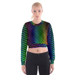 Digitally Created Halftone Dots Abstract Background Design Women s Cropped Sweatshirt
