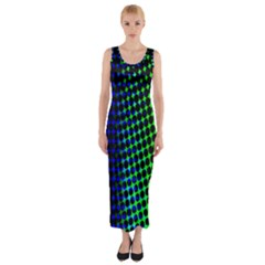 Digitally Created Halftone Dots Abstract Background Design Fitted Maxi Dress