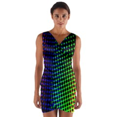Digitally Created Halftone Dots Abstract Background Design Wrap Front Bodycon Dress