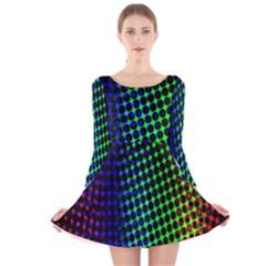 Digitally Created Halftone Dots Abstract Background Design Long Sleeve Velvet Skater Dress