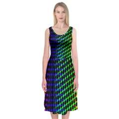 Digitally Created Halftone Dots Abstract Background Design Midi Sleeveless Dress