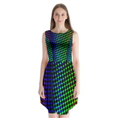Digitally Created Halftone Dots Abstract Background Design Sleeveless Chiffon Dress